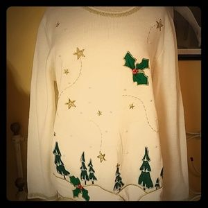 Sparkly gold forest ugly christmas sweater